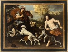 "26  -  <p><span class=""object_title"">Atribuido a Abraham Hondius (Rotterdam, 1625-Londres, 1691). Escena de caza.</span>.<br></p>"