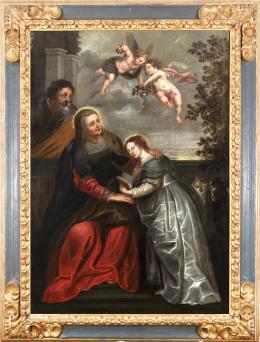 """28  -  <p><span class=""""object_title"""">Escuela flamenca del siglo XVII. Seguidor de Rubens. La educación de la Virgen.</span>.<br></p>"""