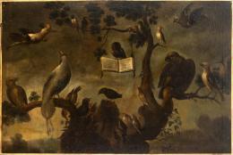 "32  -  <p><span class=""object_title"">Escuela flamenca del siglo XVII. Seguidor de Frans Snyders. Concierto de aves.</span>.<br></p>"