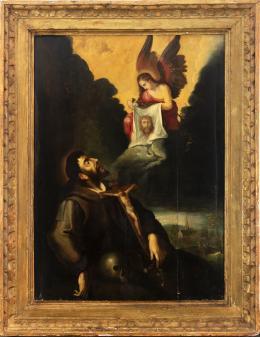 """45  -  <p><span class=""""object_title""""> Escuela italiana del siglo XVII. Visión de San Francisco.</span>.<br></p>"""