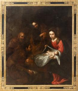 """43  -  <p><span class=""""object_title"""">Escuela andaluza del siglo XVII. Seguidor de Bartolomé Esteban Murillo. Adoración de los pastores.</span>.<br></p>"""