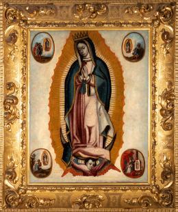 "56  -  <p><span class=""object_title""> Escuela colonial, México, siglo XVII. Virgen de Guadalupe. </span>.<br></p>"