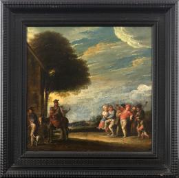 """57  -  <p><span class=""""object_title"""">Escuela holandesa del siglo XVII. Círculo de Pieter van der Hulst I (Malinas, 1565-Amberes, 1628). Fiesta aldeana y la huida a Egipto. </span>.<br></p>"""