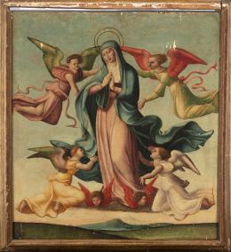 "20  -  <p><span class=""object_title"">Escuela hispano-flamenca del siglo XVI. Ascensión de la Virgen.</span>.<br></p>"